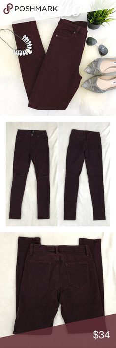 "JUST BLACK Mid Rise Wine distressed skinny jeans New without tags. Color is a deep wine maroon with a black overwash-color is gorgeous! Distressing at knees, mid/high rise fit Super stretchy curve hugging skinny  Waist 13"" Hip 15"" Rise 10"" Inseam 28""  Please review all photos thoroughly  Feel free to ask questions   📎Measurements are approximate  ✏️Save 15% on bundles of 3 or more 👍🏻Reasonable offers welcome! 🚫Sorry no trades 🎀 Just Black Pants Skinny"