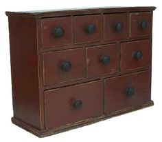 Z163 19th century Pennsylvania nine drawer Apothecary Chest, dovetailed drawers and case with red paint Country Treasures