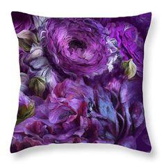 Peonies In Purples 2 decorator throw pillow featuring the art of Carol Cavalaris.