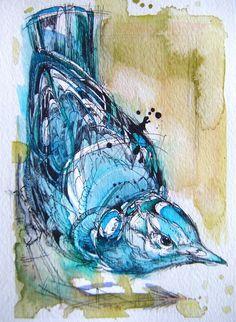 Frederick Schiller: The beautiful birds of Abby Diamond! Description from… Bird Line Drawing, Bird Drawings, Colorful Drawings, Drawing Birds, Watercolor Bird, Watercolor Animals, Watercolor Paintings, Watercolours, Feather Illustration