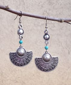 Boho Jewelry // Boho Earrings // Silver Ethnic Drop Earrings with Turquoise by NadzJewelryBox, $15.00