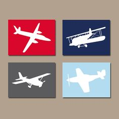 ★AIRPLANES Wall Art, CANVAS or Prints, Baby Boy Nursery Artwork, Airplane Theme PLANES, Aviation Decor, Navy Red, Set of 4, Big Boy Bedroom  ★Includes 4 pieces of wall art ★Available in PRINTS or CANVAS (see below)  ★SIZING OPTIONS Available from the drop down menu above the add to cart button with prices. >>>  ★PRINT OPTION Available sizes are 5x7, 8x10, & 11x14 (inches). Prints are created digitally and printed with UltraChrome Hi-Gloss ink on professional 68lb satin luster photo paper…
