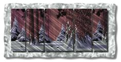 "61x30 north woods metal wall art, modern home decor, contemporary wall sculpture by ASH CARL DESIGNS. $1075.20. High Quality Welded and Bolted Construction. Size: 30"" T x 60.5"" W Inches. Corrosion Resistant Finish. Painted Steel. Hangs in 15 minutes!. Add a touch of winter beauty to your walls with this ""Winter Woodland"" metal wall art. This beautiful illuminated metal wall hanging consists of 2 colorful painted metal layers comprised of 6 metal panels that will li..."