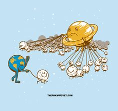 "Earth and Jupiter walk their moons..........  - ""The Awkward Yeti"" by  Nick Seluk (10/06/13)"