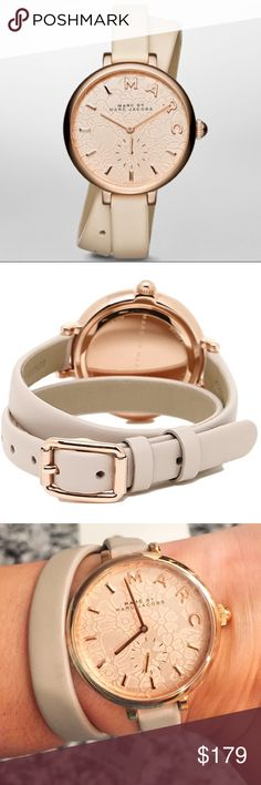 Marc Jacobs Sally Tan Leather Strap Watch NWT and comes in original box. In excellent condition, only slight crease in leather strap from being tried on as seen in pictures. Tan leather strap that wraps around wrist for added detail. Rose Gold stone steel case 36mm. Quartz movement, water resistant 50m. White flower detail etched in face with Marc Jacobs logo. No trades offers welcome. Marc Jacobs Accessories Watches