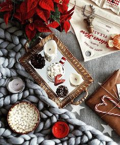 Flatlay winter Christmas instagram photo inspiration ideas