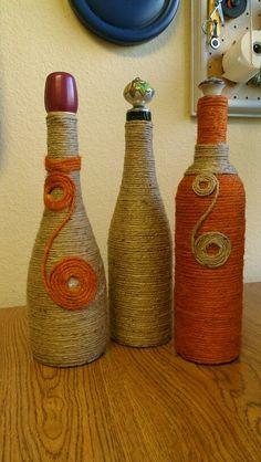 Botellas decoradas con cuerda
