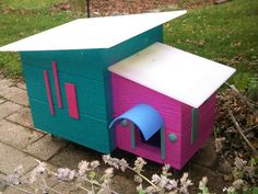 Cat Shelter Outdoor House, Mid Century Modern Design Outdoor for Feral Cats Handmade Unique Design by BillieBoi on Etsy