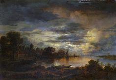 Aert van der Neer (Dutch, 1603-1677) - Un villaggio da un fiume - chiaro di luna
