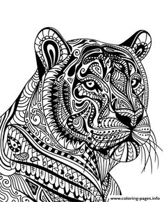 mandala tiger adult animal coloring pages printable and coloring book to print for free. Find more coloring pages online for kids and adults of mandala tiger adult animal coloring pages to print. Lion Coloring Pages, Mandala Coloring Pages, Coloring Books, Colouring Pages For Adults, Dibujos Zentangle Art, Zentangle Drawings, Zentangle Animal, Mandalas Painting, Mandalas Drawing