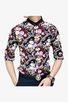 Slim Fit Red Paisley Flowers Printed Short Sleeve Shirt. Free 3-7 days expedited shipping to U.S. Free first class word wide shipping. Customer service: help@moooh.net