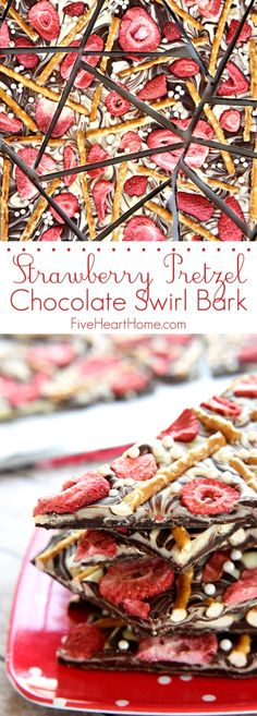 Strawberry Pretzel Chocolate Swirl Bark ~ semi-sweet and white chocolate, salty pretzels, tart strawberries, and festive sprinkles combine in this fun and tasty homemade candy! | FiveHeartHome.com