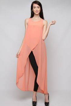 Coral tunic ~ this long cool tunic dress I would wear over my swimsuit for the beach... Lovely!!