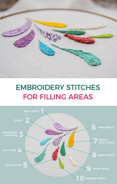 Embroidery Tutorial on Embroidery Stitches To Fill Areas. Learn 10 Stitches To Fill Areas. Tutorials for each Stitch available from Pumora.de. jwt