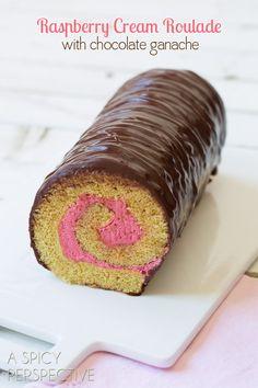 Roulade - Chocolate Ganache Covered Raspberry Cream Roulade Cake! #valentinesday #cake #spring #chocolate