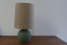 Matte Green Stoneware Orb Lamp / Victoria Morris Pottery