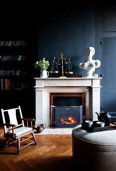 Deep indigo walls, herringbone floors