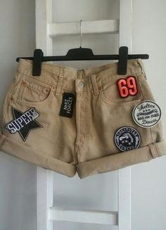 Kup mój przedmiot na #vintedpl http://www.vinted.pl/damska-odziez/szorty-rybaczki/18483337-levis-spodenki-jeans-dzins-nude-naszywki-wysoki-stan-highwaist-guziki-l-denim-diy-model-501
