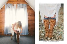 Zach+Hannah: Hannah wearing the Front Lace Knee High Boot.  Photographed by Ellie Koleen Photography #MyMinnetonka