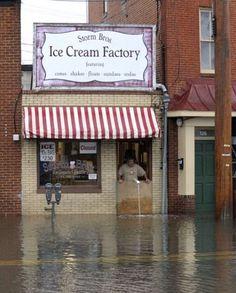 Hurricane Sandy Flooding, Shop Owner Looks On