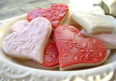 Embossed heart sugar cookies
