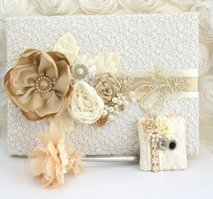 Ivory Wedding Guest Book and Pen Vintage Inspired by SolBijou, $140.00