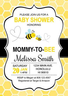Bumble Bee Baby Shower Invitations Honey Bee Baby Shower | Etsy