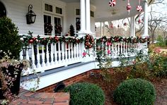 Victorian-style porch with Christmas decor