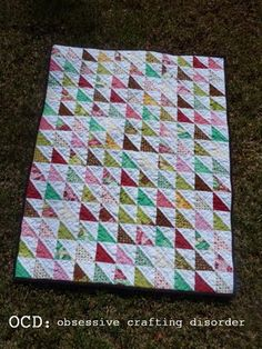 Plume HST quilt. Perfect for scraps.