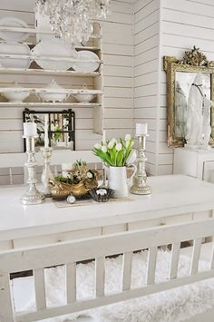 chic-schnack... I love shabby... and I Love white... but it will never happen.  Married to a man who totally loves modern and industrial.