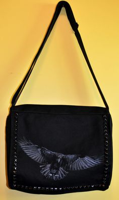 Raven black vegan messenger style cross body by roosterbags.  60.00 81294a463dec6