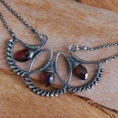 Woven Garnet Fans Necklace in Sterling Silver by NeroliHandmade, via Flickr