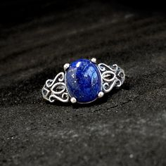 Lapis Lazuli Ring: Sterling and Lapis - size 5.5, open silver filigree... ($70) ❤ liked on Polyvore featuring jewelry, rings, band rings, antique gemstone rings, tattoo rings, gemstone band rings and antique filigree ring