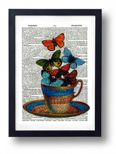 Original Art Print Vintage Dictionary Book Page Tea Cup and Butterflies £2.99 #folksyfriday