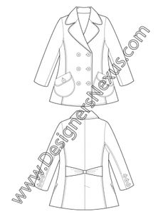 Apparel Flat Sketch V7 Fitted Double-Breasted Pea Coat with Rounded Notch Collar