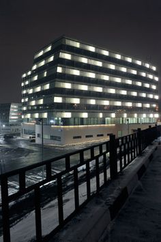 Moscow, Business Center with linear facade LED lighting by Arcluce