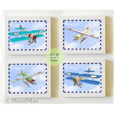 Kids Wall Art  Airplane Nursery Art  Vintage Airplane by MuralMAX, $48.00  #ArtForKids #airlpane #nurseryart #decor