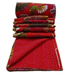 """100% Cotton Quilt Floral Print Kantha Quilted Gudri Decorative Red Reverssible Bedspread India 106 X 90""""  Upstairs bedroom"""