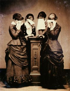 Four Women Crying    Tintype 1/6 plate, circa 1878    Expressions of grief, especially crying, became a subject of memorial photography in the 1870s. These photographs, with their emphasis on the bereaved as opposed to the deceased, predated the similar concerns of memorial photography of the twentieth century. Images such as these resulted in public recognition that death also profoundly affected the living. It became common in the memorial photography of this time to see the bereaved in…