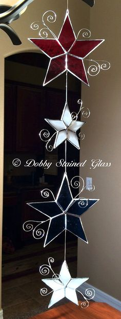 Stained Glass Stars Red White & Blue by DobbyStainedGlass on Etsy