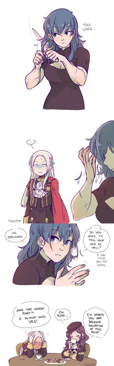 "A silly comic featuring Byleth ""what are scissors?"" Eisner and Edelgard ""I take extra care of my hair and I trim it very carefully"" von Hresvelg Fire Emblem Awakening, Yuri Anime, Anime Art, Harley Quinn Comic, Fire Emblem Games, Lesbian Art, Fire Emblem Characters, Pokemon, Cute Anime Couples"