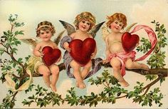 Valentine Fabric Block Vintage Postcard Printed onto Fabric Cupids Hearts | eBay