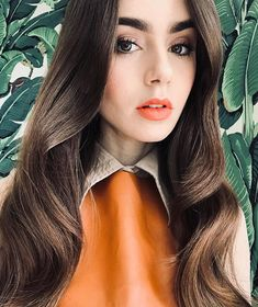 Lily Collins - Page 2 of 2 - RichMenDating Cute Makeup, Hair Makeup, Lily Collins Hair, Orange Lips, Diy Hair Care, Beautiful Hijab, Glamour, Orange Is The New Black, Beauty Women