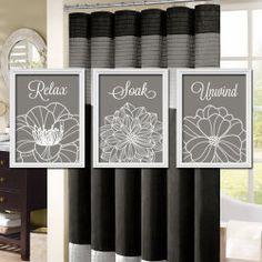 Charcoal Gray Bathroom Wall Art  Artwork Custom Colors Dahlia Flower Set of 3 Trio Prints Decor Relax Soak Three