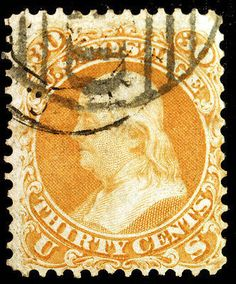 U.S. #71 30c Orange with PAID Cancel Very Sharp  – Classic Collector Stamp Sale Visit LittleArtTreasures.com