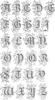 Old English Style Letters These Old English Style Letters are from Art Alphabets and Lettering by J. Calligraphy Fonts Alphabet, Tattoo Fonts Alphabet, Hand Lettering Alphabet, Handwriting Fonts, Script Fonts, Alphabet Writing, Penmanship, Typography Fonts, Creative Lettering
