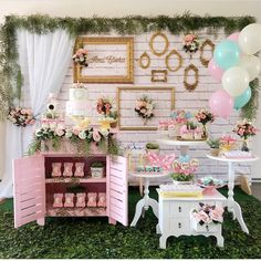 How about this for a Baby Shower Party? Tea Party Baby Shower, Boho Baby Shower, Baby Party, Girl Shower, Girl Baby Shower Decorations, Birthday Decorations, Alice In Wonderland Party, Candy Table, Candy Buffet