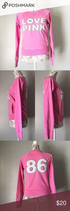 Victoria's Secret Pink Sweatshirt Love Pink Victoria's Secret Pink Sweatshirt. Size XS PINK Victoria's Secret Tops Sweatshirts & Hoodies