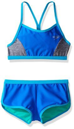 5ee52c62b15 Speedo Girls Heather Splice Boyshort Two Piece Swim Shorts Bikini Set,  Radiant Blue, Size