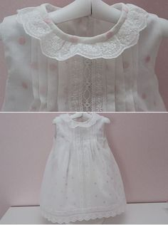 Broderie anglaise, Swiss entredeux, pleats ~ Heirloom sewing ~ by MisNiñas Sewing Lace, Baby Sewing, Toddler Girl Outfits, Kids Outfits, Baby Girl Fashion, Kids Fashion, Little Girls Fancy Dresses, Baby Gown, Heirloom Sewing